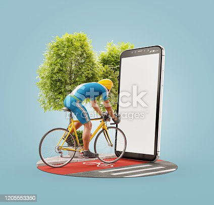 istock Unusual 3d illustration of a Professional cyclist 1205553350