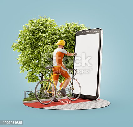 istock Unusual 3d illustration of a Professional cyclist 1209231686