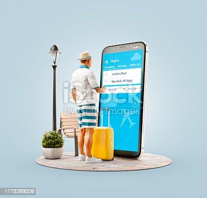 istock Unusual 3d illustration smart phone application 1173289326