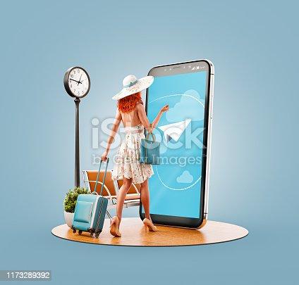 istock Unusual 3d illustration smart phone application 1173289392