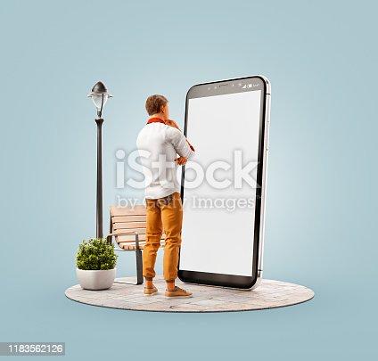 istock Unusual 3d illustration smart phone application 1183562126