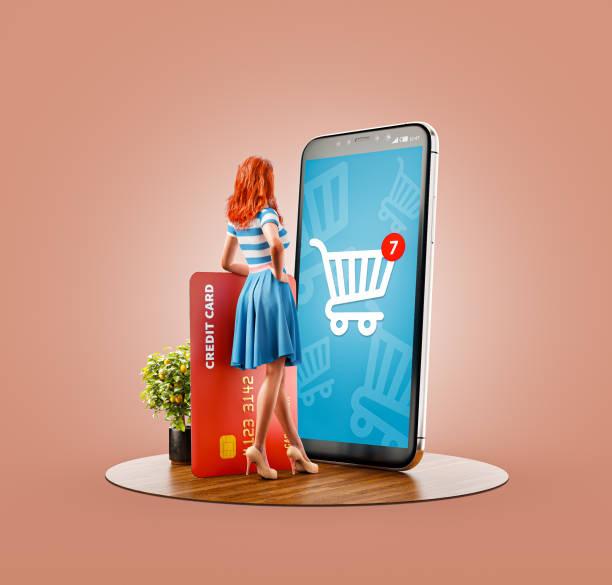 unusual 3d illustration smart phone application - online shopping imagens e fotografias de stock