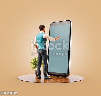 istock Unusual 3d illustration smart phone application 1191448759