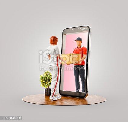 istock Unusual 3d illustration smart phone application 1201835926