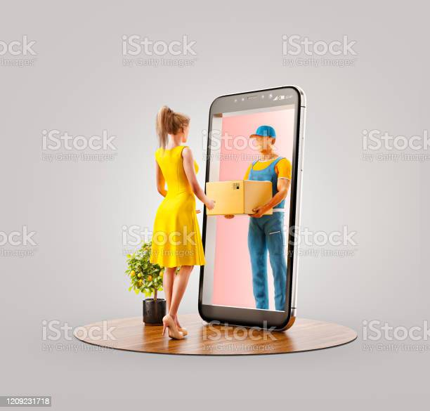 Unusual 3d Illustration Smart Phone Application Stock Photo - Download Image Now
