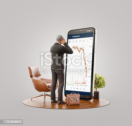 Unusual 3d illustration of a Desperate businessman standing in front of smartphone with crushed Stock market graph. Failure stock market and loss business investment profit concepts