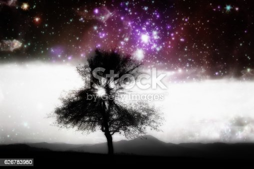 alien landscape with alone tree over the night sky with many stars - elements of this image are furnished by NASA
