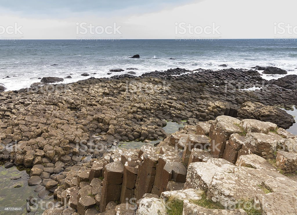 Unusual geology at Giants Causeway Ireland royalty-free stock photo