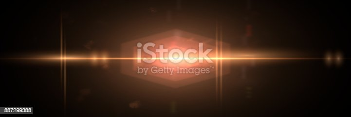 istock unusual golden lens flare effect overlay texture with hexagonal bokeh effect and anamorphic light streak in front of a black background panorama 887299388