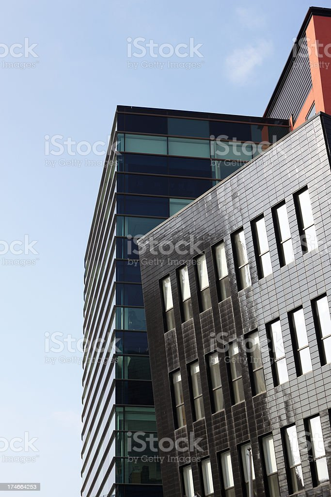 Unusual Office Angles , Salford Quays, Manchester,England, UK royalty-free stock photo