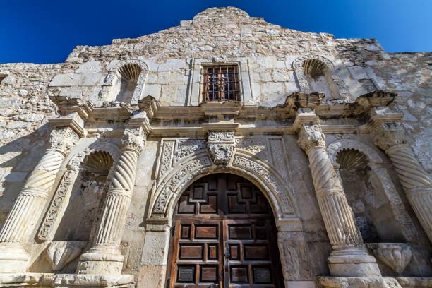 unusual perspective of the historic alamo, san antonio, texas. - the alamo stock photos and pictures