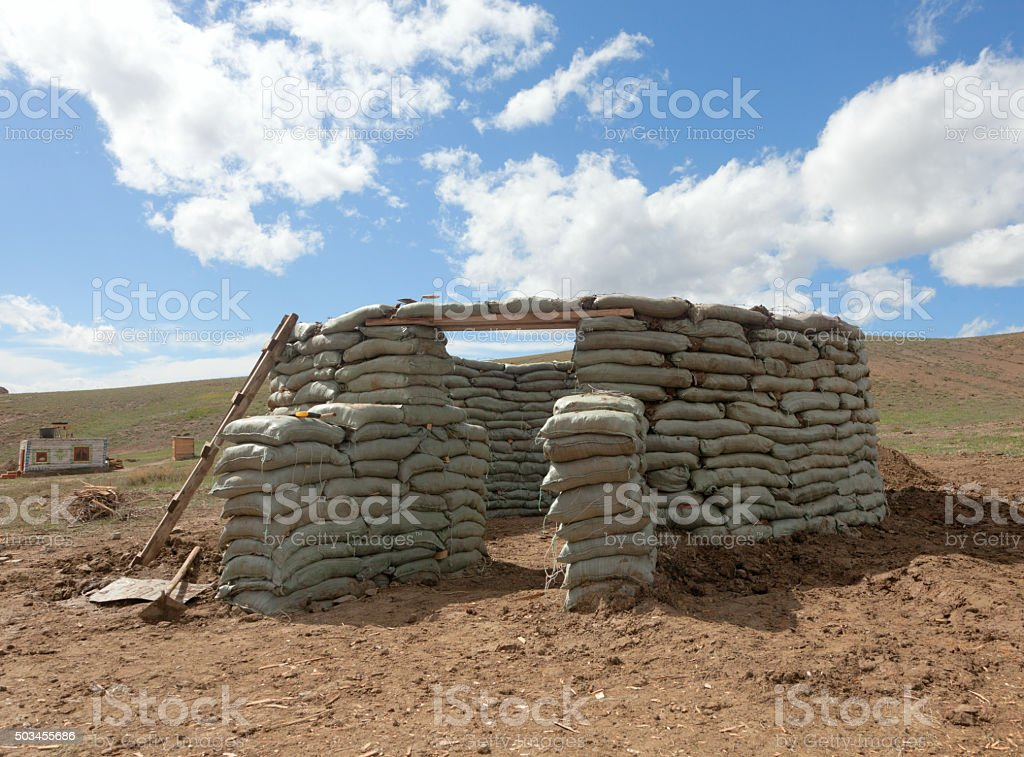 Unusual round house stock photo
