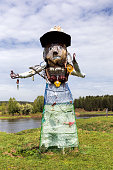 Sulem, Russia - May 22, 2018: Unusual statue collected from various materials. Caring for the environment - the use of recyclables
