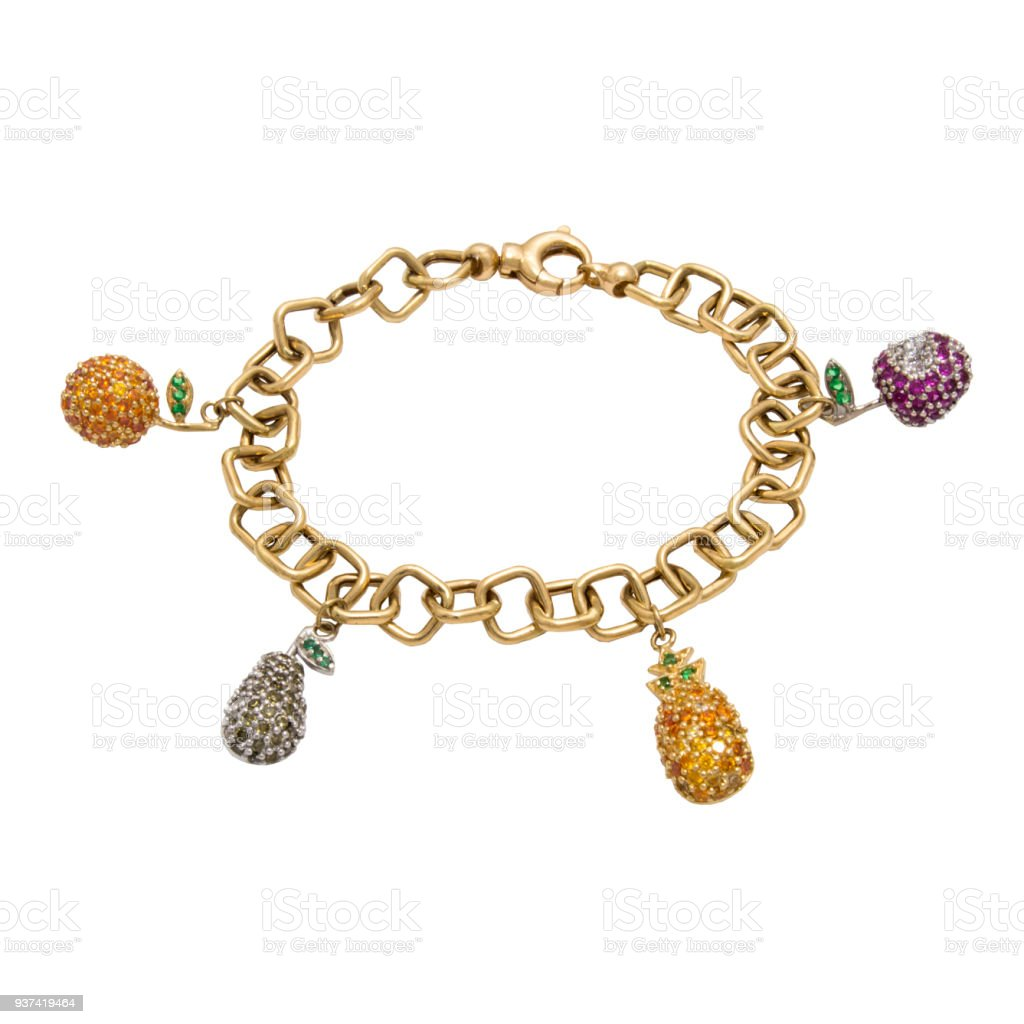 Unusual very special stylish golden diamond chain bracelet with fruits stock photo