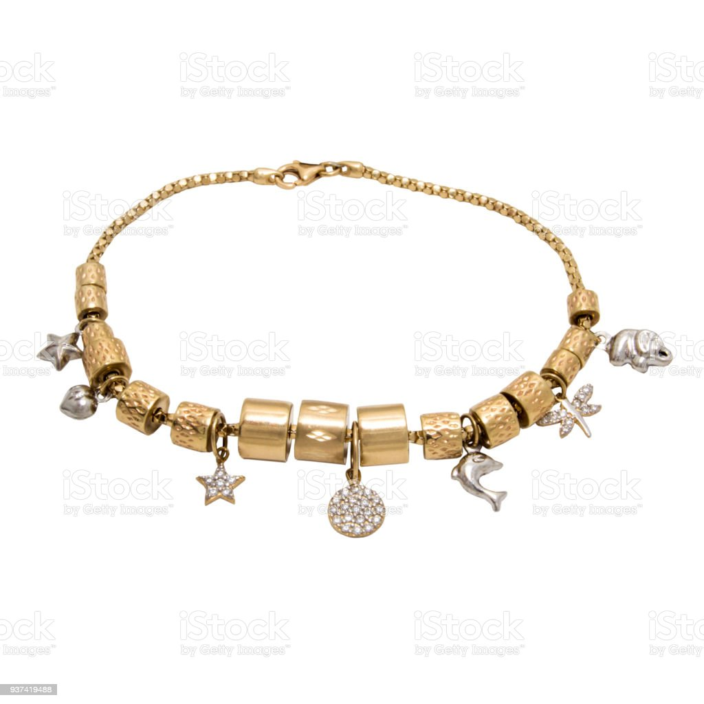 Unusual very special stylish golden diamond chain bracelet with pendants - star, heart, dolphin, sun,elephant stock photo