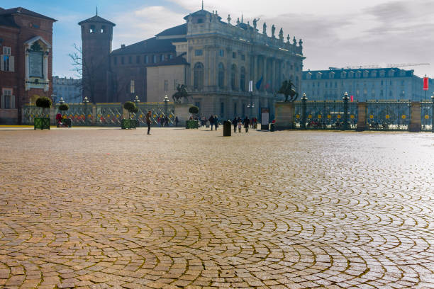 Unusual view of Piazza Castello in Turin (Piedmont, Italy). stock photo