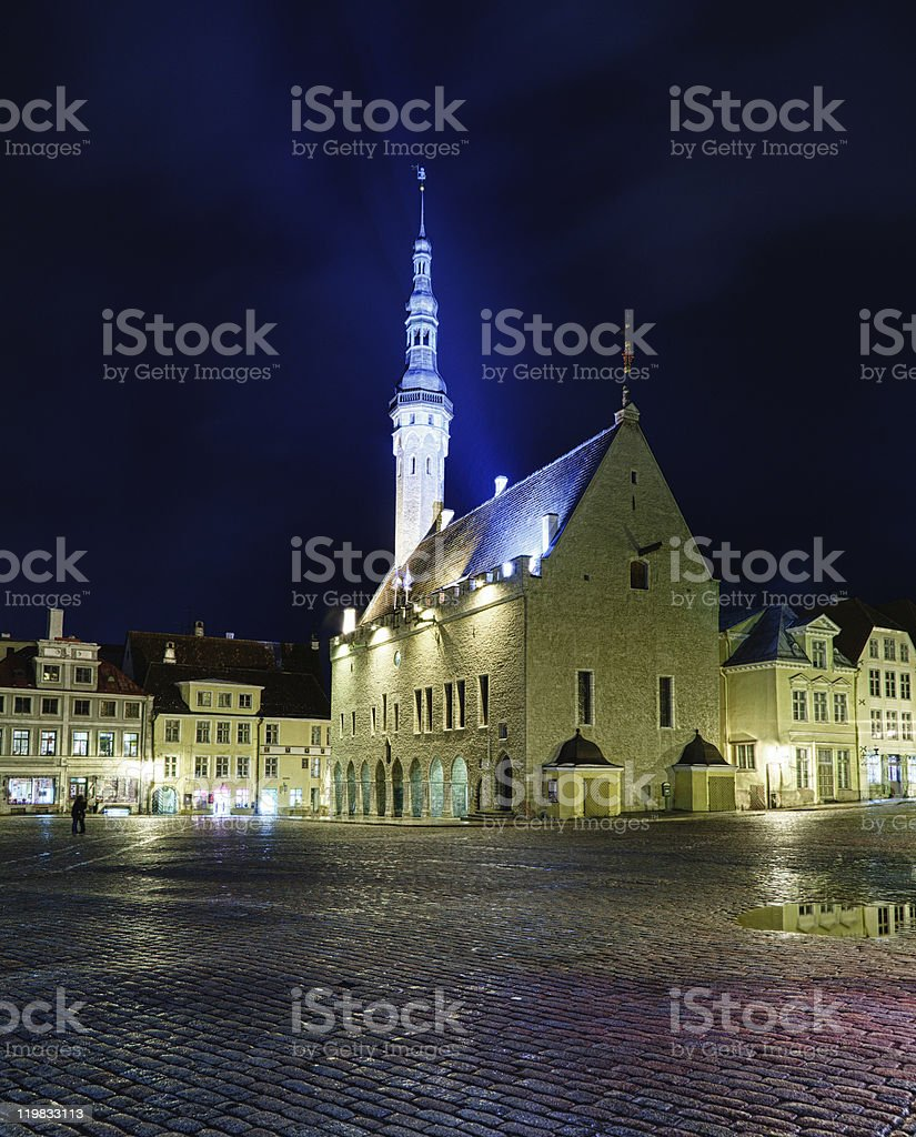 Unusual view of Tallinn town hall royalty-free stock photo