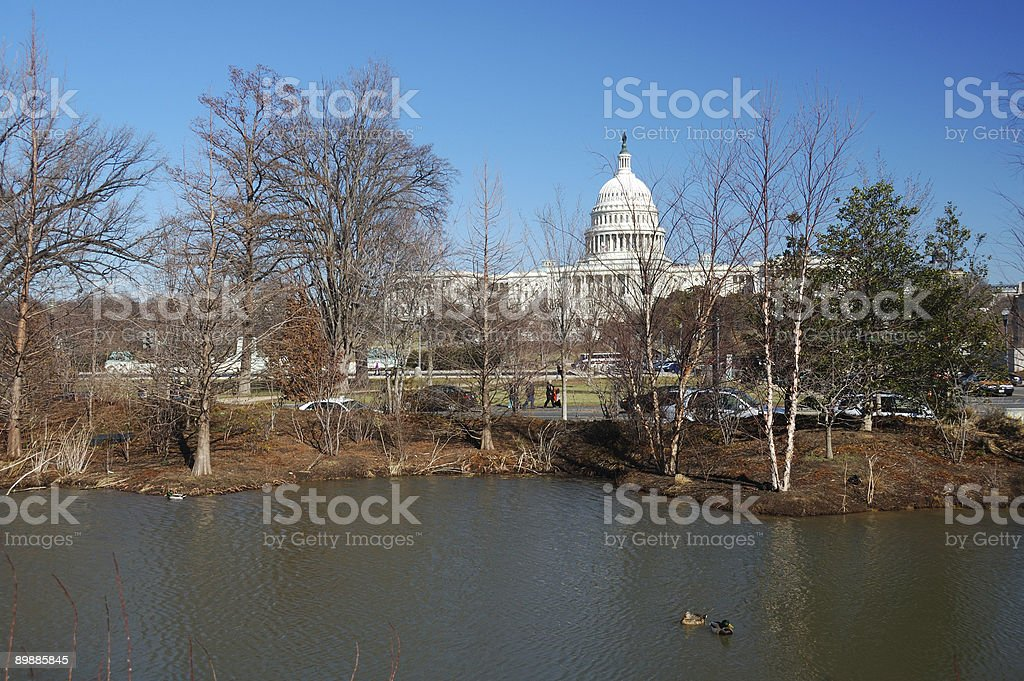 Unusual view of the Capitol Buildings royalty-free stock photo