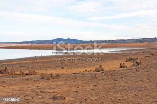 The lake level at Folsom Lake is very low for this time of the year. In a normal year, all the dirt and rocks and stumps in this picture are underwater.