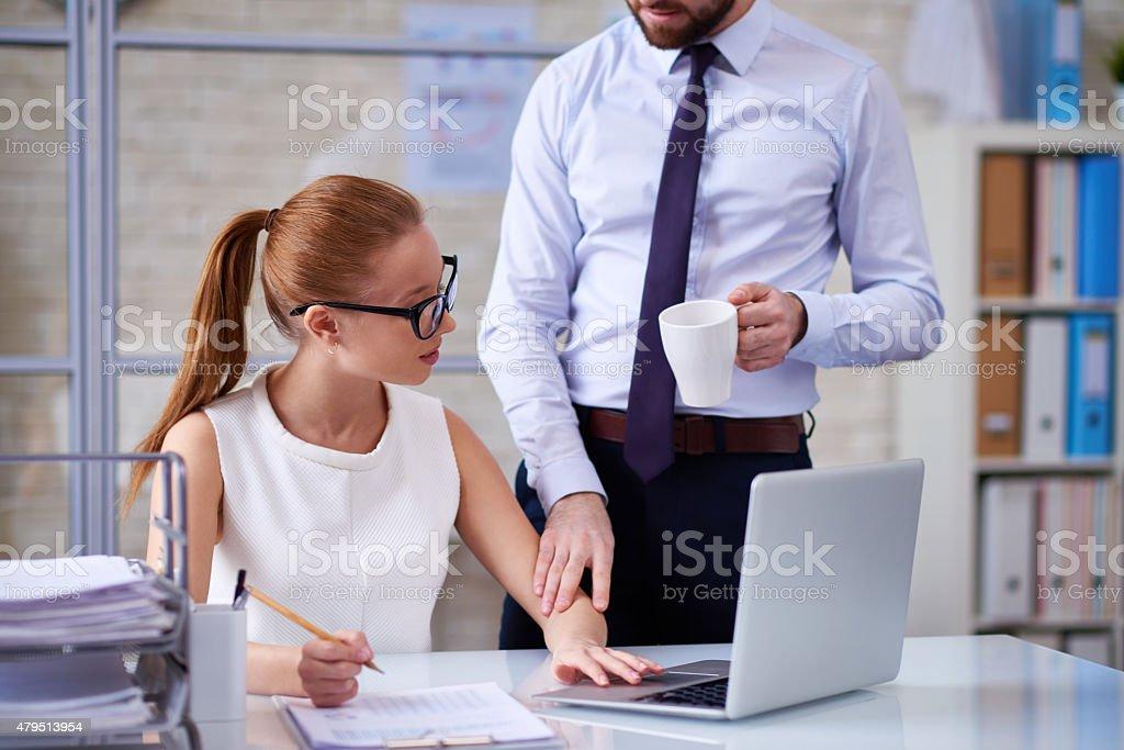 Unwelcome flirting stock photo