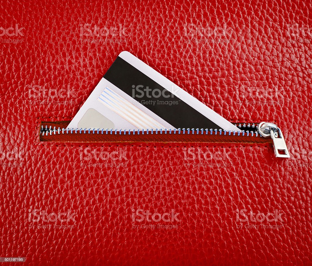 Unzip leather wallet with card. stock photo