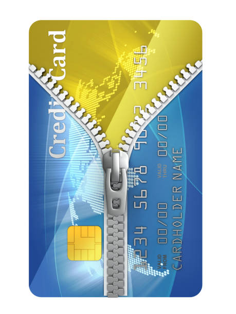 unzipped credit card 3d concept stock photo