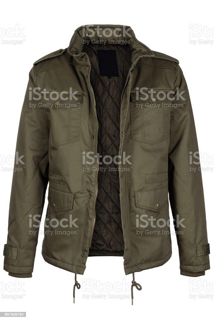 Unzipped olive jacket stock photo