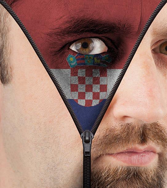 unzipping gesicht flagge von kroatien - cro maske stock-fotos und bilder
