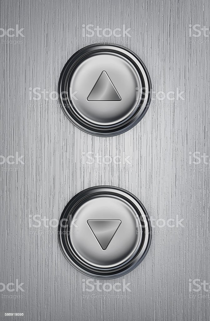 Up and down elevator buttons stock photo