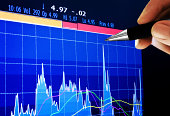 Market Analyze on lcd screenpen pointing at a business graph