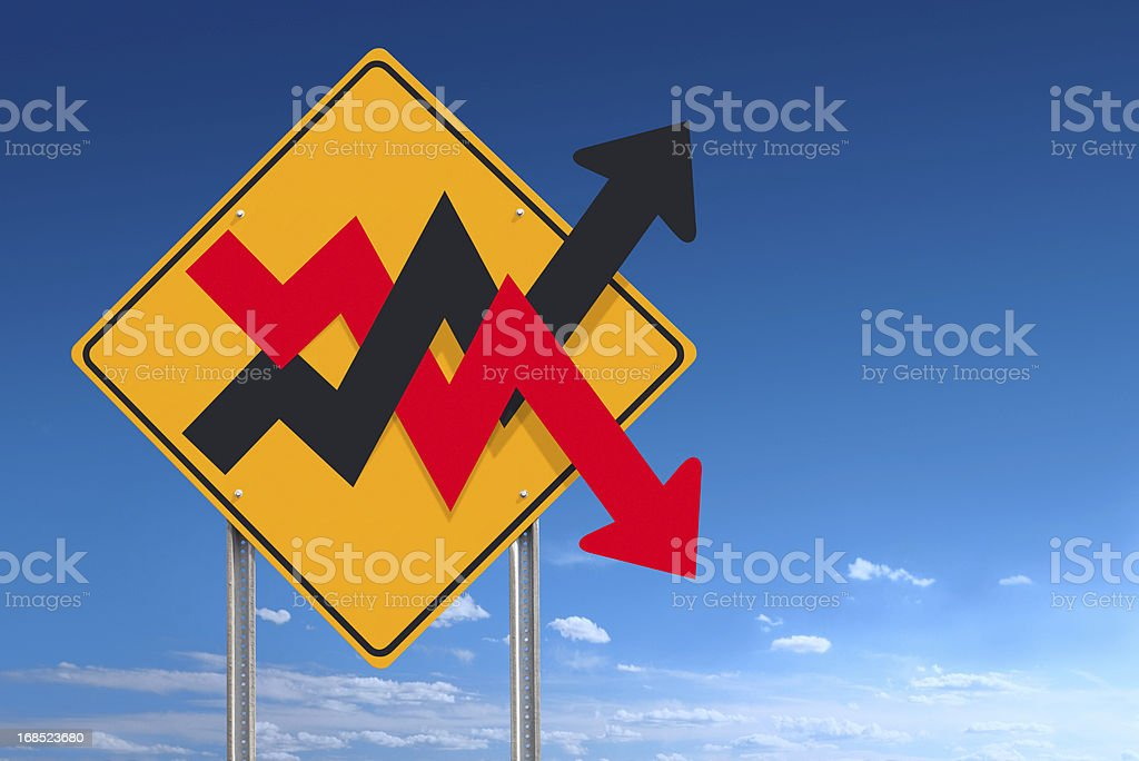Up and Down Unstable Graph Financial Market Road Sign Post stock photo