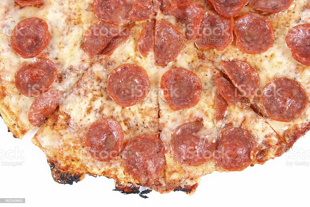 up close half pizza pepperoni royalty-free stock photo