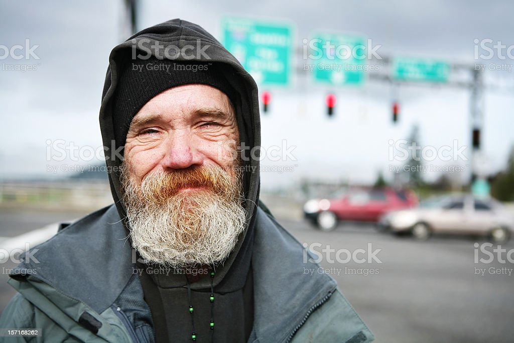 Up Close Photo of a Homeless Man stock photo