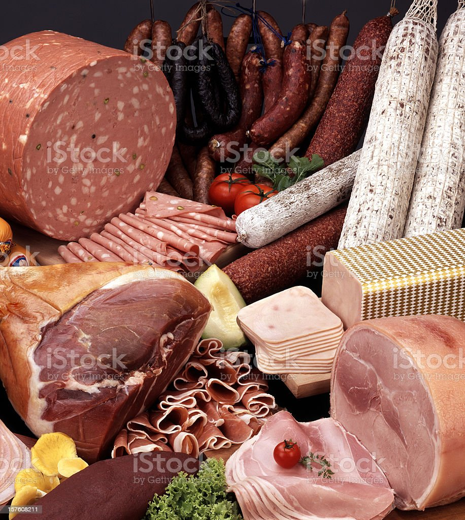 Up close photo of assortment of cold cut meats stock photo