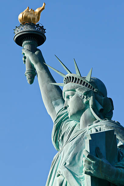 Up close photo of the Statue of Liberty in New York City stock photo