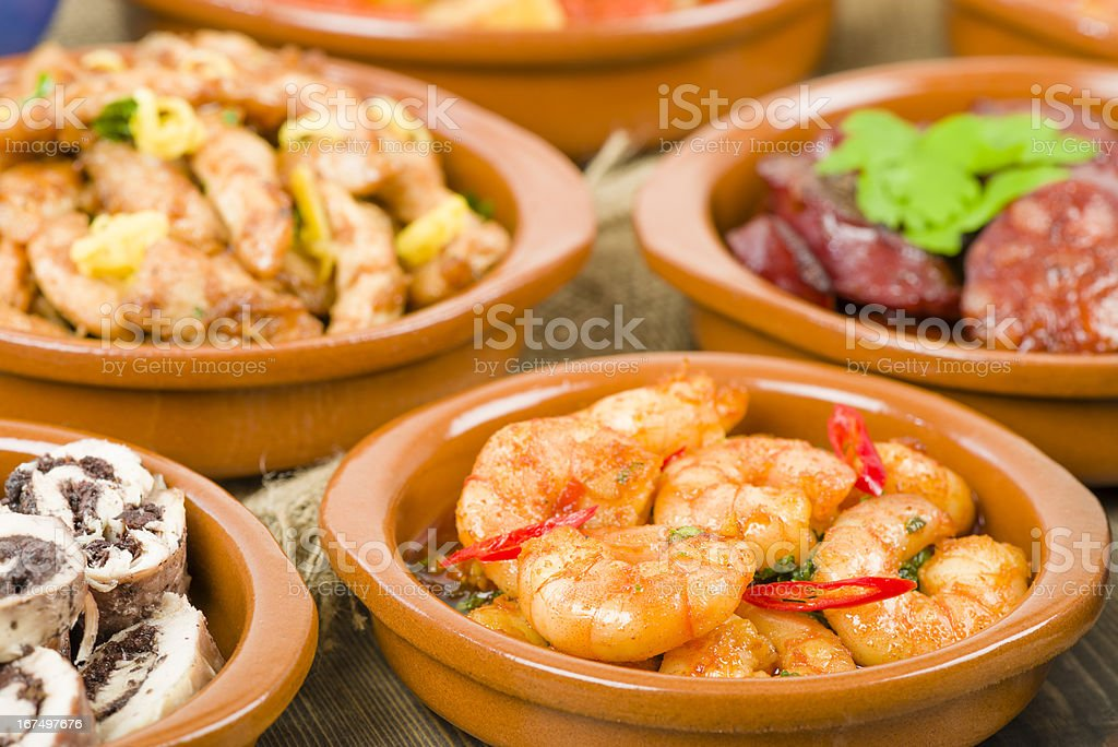 Up close photos of bowls of tapas royalty-free stock photo