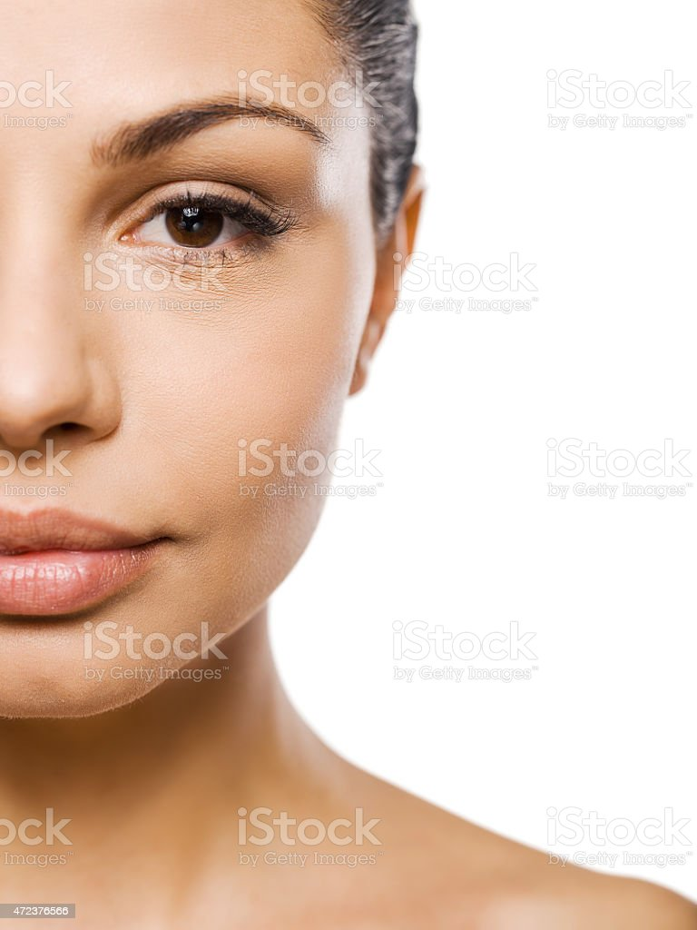 Up close picture of a woman's face stock photo