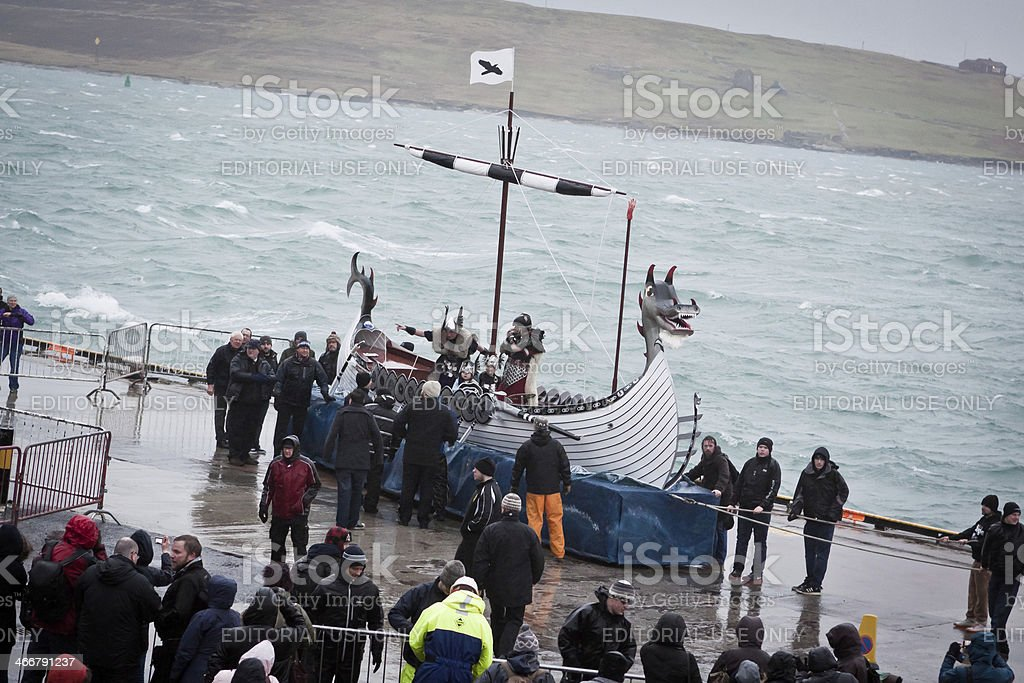 Up Helly Aa 2014 Viking Galley Ship royalty-free stock photo