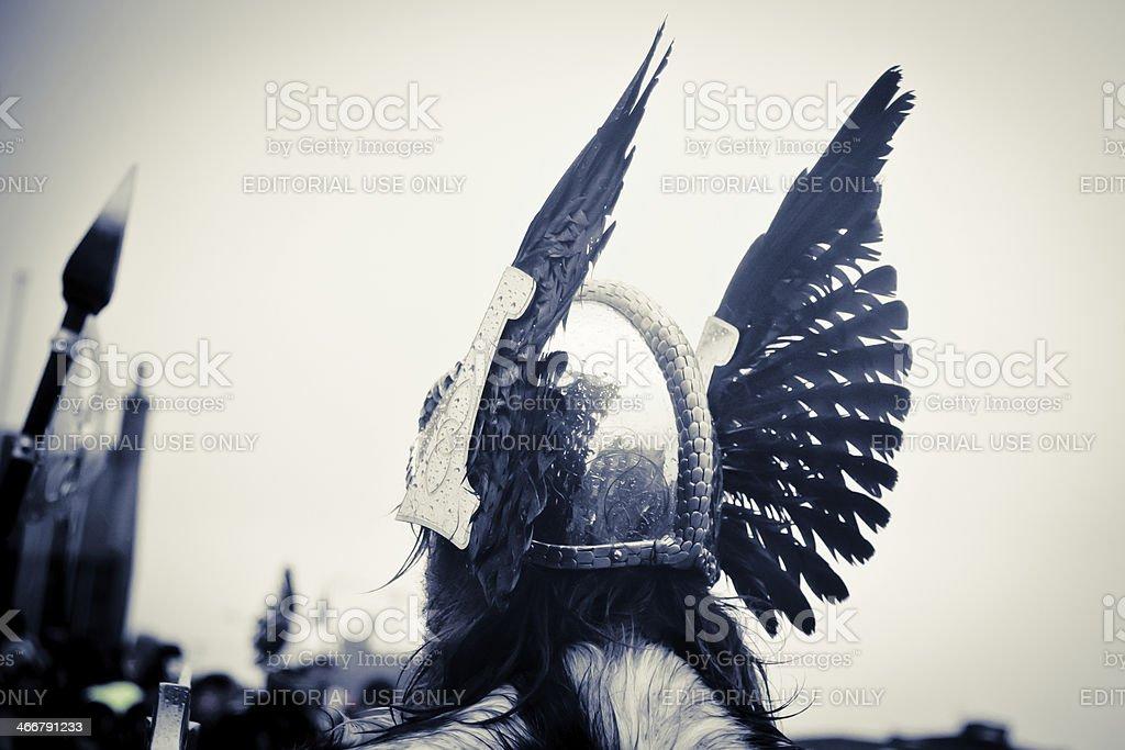 Up Helly Aa 2014 Viking Helmet royalty-free stock photo