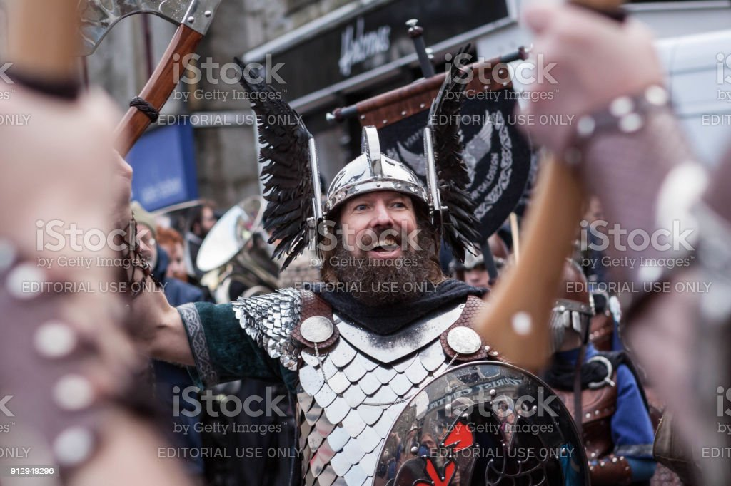 Up Helly Aa 2018 Guizer Jarl stock photo
