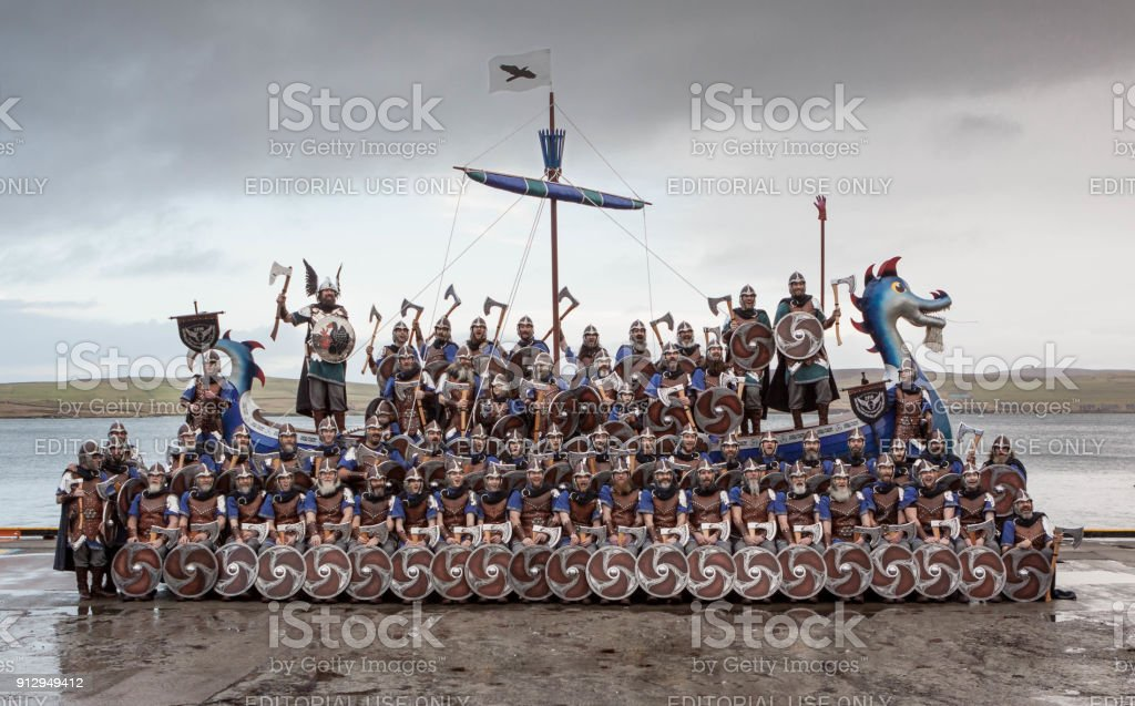 Up Helly Aa 2018 Official Squad Photo stock photo