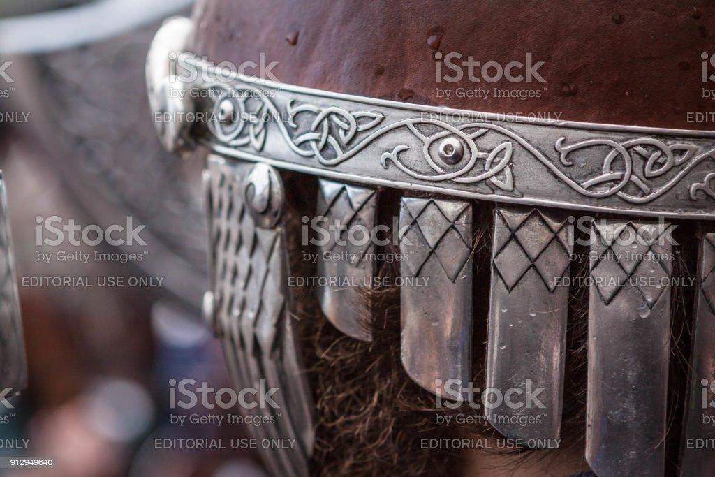 Up Helly Aa 2018 Viking Helmet stock photo