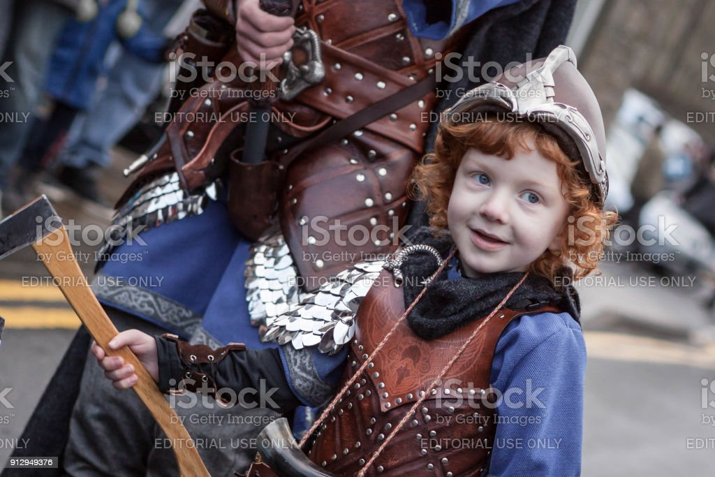 Up Helly Aa 2018 Young Viking stock photo