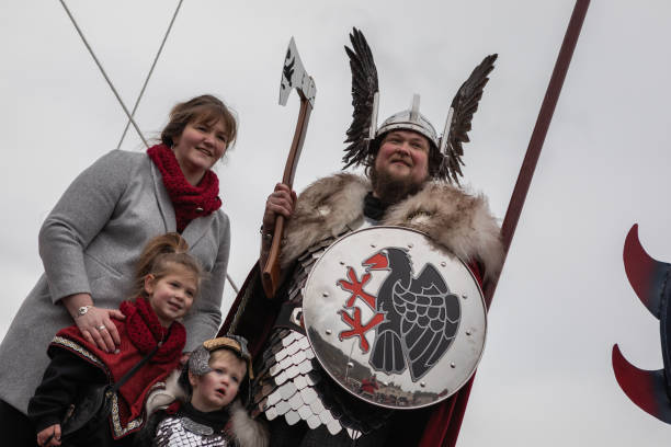 Up Helly Aa 2020 Guizer Jarl stock photo