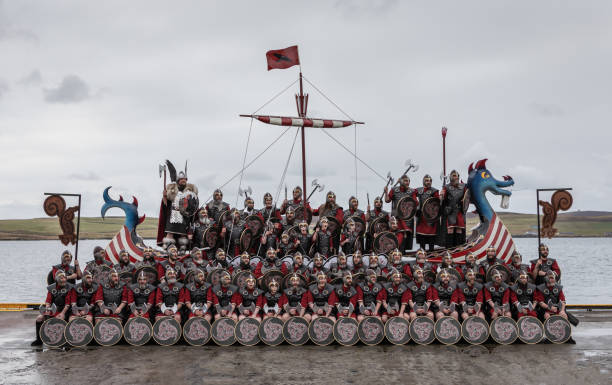 Up Helly Aa 2020 Squad Photo stock photo