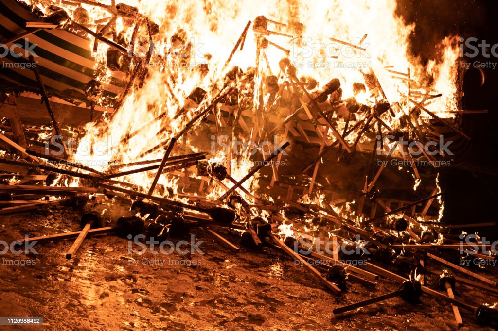 2019 Up Helly Aa Burning Galley stock photo