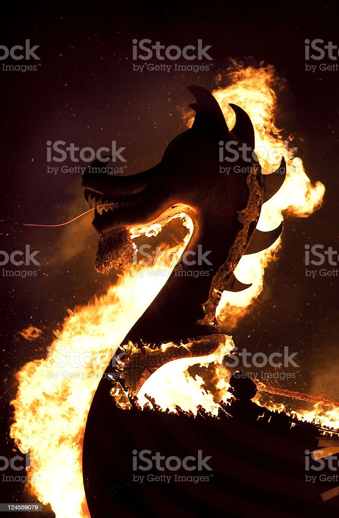 Up Helly Aa Burning Galley royalty-free stock photo