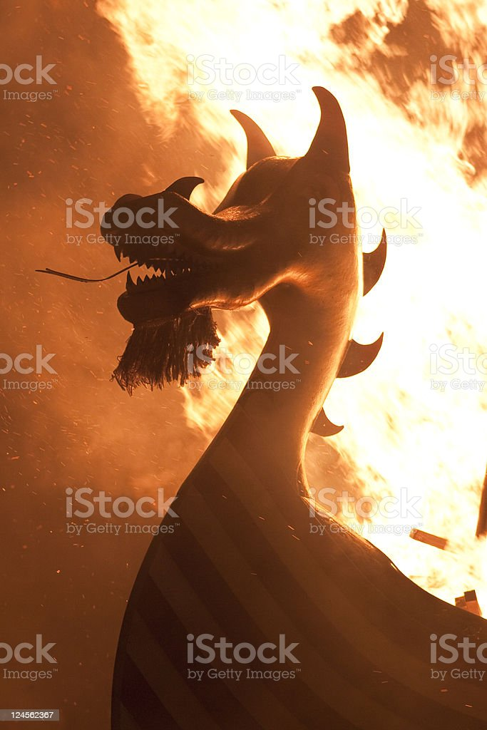 Up Helly Aa Burning Viking Galley royalty-free stock photo