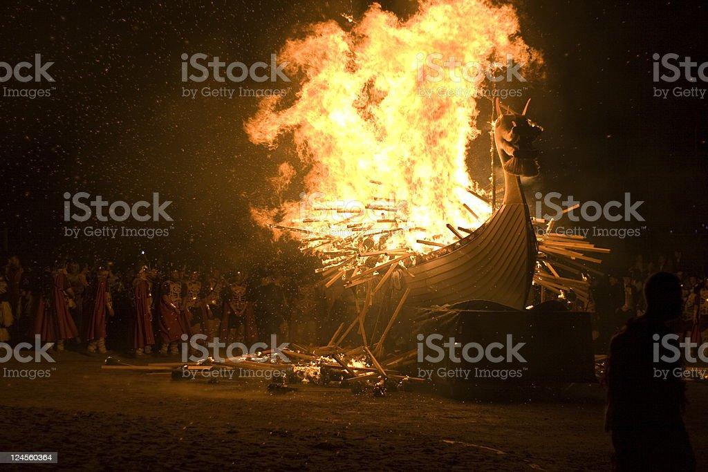 Up Helly Aa Burning Viking Galley Ship royalty-free stock photo