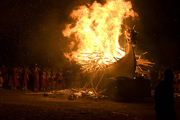 Up Helly Aa Burning Viking Galley Ship stock photo